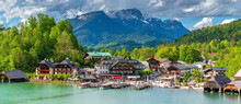 Bavarian Schönau City Shape With The Mountain Background
