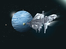 Large Interstellar Spaceship Approaching A Gas Giant Exoplanet With Moons