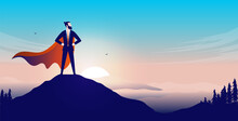 Business Superhero On Mountaintop - Businessman With Cape Standing Proud On Top After Great Accomplishment. Vector Illustration With Copy Space For Text