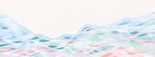 Abstract Wave Watercolor And Acrylic Flow Blot Smear Painting.  Color Canvas Texture Horizontal Long Background.