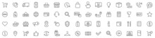 Shopping Icons Set. E-commerce Icon Collection. Online Shopping Thin Line Icons. Shop Icons Vector