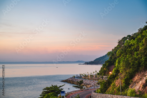 Fotografie, Obraz Beautiful seascape view with the mountain and sunset at noen nangphaya viewpoint chanthaburi thailand