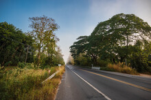 Beautiful Road With Morning Fog In The Rural Of Nan City Thailand.
