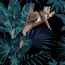 Colorful Floral Night Pattern With Tiger Leopard Sleeping On The Tree And Exotic Tropical Leaves Illustration. Fashion Ornament On Dark Background.