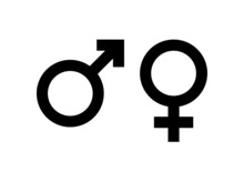 Black Male And Female Sign. Circle With An Arrow And Cross Down. Belonging To The Masculine Or Female Gender. Vector Illustration. EPS10