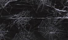 Spider Webs On Black Banner