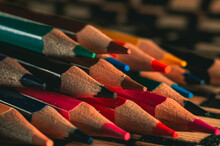 Selective Focus Shot Of Sharpened Colorful Pencils On A Flat Surface