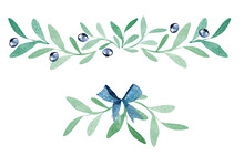 Vegetable Twigs With Blue Berries Frame Border Watercolor. Template For Decorating Designs And Illustrations.