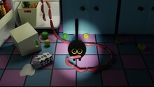 Fluffy Black Kitten Stole Sausages From The Refrigerator At Night. 3d Rendering Illustration Of Funny Cases With Animals