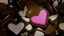 Pink Heart Shaped Chocolate Candy On Milk White Chocolate Background. 3d Rendering, Valentine's Day Illustration