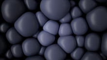 Violet And Charcoal 3D Balloons Squash Together To Make A Multicolored Abstract Background. 3D Render.