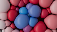 Red White And Blue 3D Balloons Squash Together To Make A Multicolored Abstract Background. 3D Render.