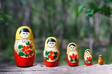 Figures Of Matryoshka Dolls In Close-up. The Dolls Are Standing In A Row.