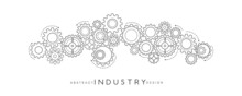 Technology Abstract Background From Gearwheels Composition. Horizontal Light Banner For Teamwork, Industrial, Communication Or Automation Conceptual Design.