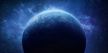 Blue Planet In Outer Space. Earth Surface. Solar System Planet. Sphere In Deep Space. Elements Of This Image Furnished By NASA