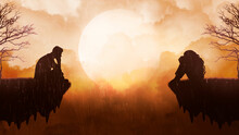 Sitting Silhouettes Of A Man And A Woman In The Rain, The Outlines Of Lonely People On Small Islands Against The Background Of A Warm Sky With Fluffy Clouds And A Bright Large Moon.