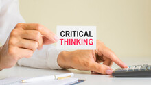 Text Critical Thinking On White Card On A White Background