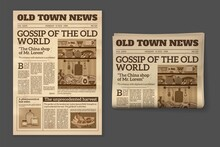Old Newspaper. Vintage Magazine Front Page Mockup. Two Realistic Pages Templates, Historical Sepia Sheet Of Journal, Daily News Vector Retro Concept
