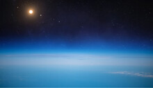 Stratosphere Of Earth Planet. Orbit. Atmosphere Of Earth. Border Of Outer Space. Blue Sky. Elements Of This Image Furnished By NASA