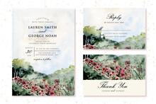 Wedding Invitation Set With Flower Meadow Watercolor Landscape