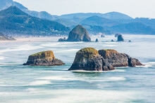 Sea Stacks And Surf At Ecola State Park On The Oregon Coast.