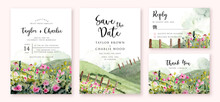 Wedding Invitation With Landscape Hill And Flower Meadow Watercolor