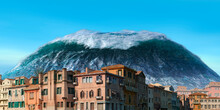 Tsunami Wave Apocalyptic Water View Urban Flood Storm. 3D Illustration