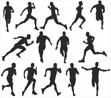 Vector Set Of Running People. Silhouettes Of Monochrome Muscular Runners. Sports Ficurs Athletes, Men And Women