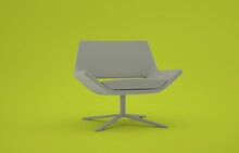An White 3D Swivel Chair With Green Background. Idea For Designing.