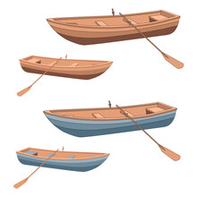 Set Of A Wooden Brown Blue Boat With Oars. Rowing A Boat For Romantic Walks On The Lake Or The Sea. The Lifeboat Made Of Wood With Stroke