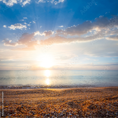 quiet sea bay at the early morning, summer sea vacation scene