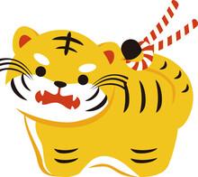 2022年 年賀状 正月 素材 寅年 寅 虎 とら トラ タイガー 動物 ネコ科 素材 土鈴 かわいい おしゃれ イラスト