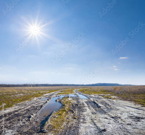 dirty ground road among prairie at the sunny day