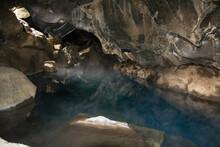 Blue Lake Inside A Cave, Iceland