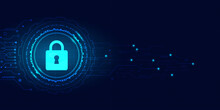 Background Blue Technology Abstract.Cyber Security Digital With Padlock Vector And Circuit Board.