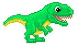 Fototapeta Dinusie - T Rex Pixel Art Dinosaur Video Game Cartoon