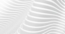 3D White Wavy Background For Business Presentation. Abstract Gray Stripes Elegant Pattern. Minimalist Empty Striped Blank BG. Halftone Monochrome Design With Modern Minimal Color Illustration.