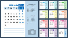 2022 Monthly Colorful Business Or Personal Planner Vector Template, Monday First, Two Weekends