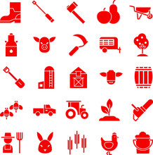 Red Farm Icon Vector Flat Collection Set