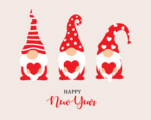 Happy New Year 2022 Characters Design. Garden Gnomes And Red Heart In Hand, Christmass Characters For Decoration Of Xmas Holidays, New Year Banner, Calendar Cover, Greeting Card. Vector Illustration