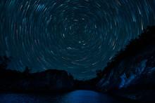 Beautiful Vortex Night And Star Trail In Pang Oung, Mae Hong Son,Thailand