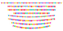 Set Of Bunting Flags And Garlands Isolated. Carnival Garland With Pennants. Decorative Colorful Party Flags Of Invitations, Greeting Cards, Birthday, Festival And Fair Decoration.Vector Illustration