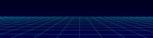 Wireframe Landscape. Vector Perspective Grid. Digital Space. Blue Mesh On A Black Background.