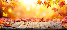 Fall Table - Autumn Leaves Falling On Wooden Plank