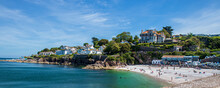 Brixham Devon, UK, Europe. Beautiful Seaside Panorama. Landscape By The Sea On A Sunny Day. View Of The Rocks