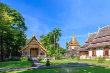 Ancient Chapel And Golden Pagoda At Wat Chiang Man In Chiang Mai, North Of Thailand