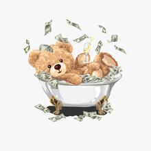 Bear Doll With Champagne Glass In Cash Bathtub Illustration