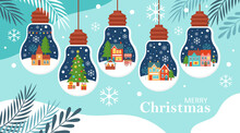 Merry Christmas Background Template For Social Media, Banner Or Poster Design. Country Village Landscape In Bauble Ornament Creative Concept.