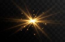 Golden Light. A Flash Of Light, A Magical Glow, Particles Of Sparks. Sun, Sun Rays Png. Light Png. Vector Image.