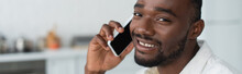 Cheerful African American Man Talking On Smartphone, Banner